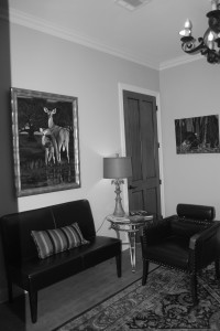lobby of office black and white